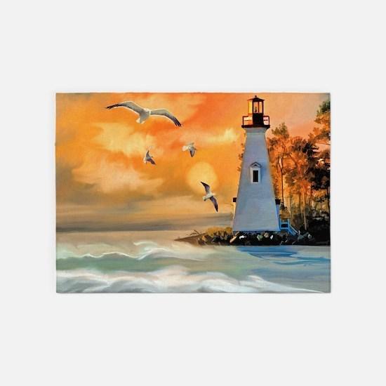 Lighthouse on the Beach 5'x7'Area Rug