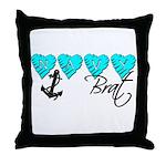 Navy Brat hearts ver2  Throw Pillow