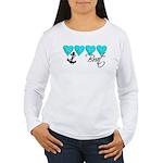 Navy Brat hearts ver2 Women's Long Sleeve T-Shirt