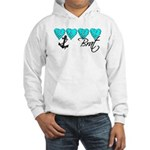 Navy Brat hearts ver2 Hooded Sweatshirt