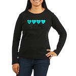 Navy Brat hearts ver2 Women's Long Sleeve Dark T-