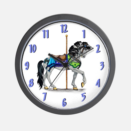 The Carousel Wall Clock ~ Lite Blue