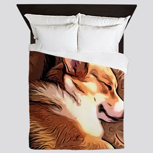 Sleepy Tricolor Corgi Queen Duvet