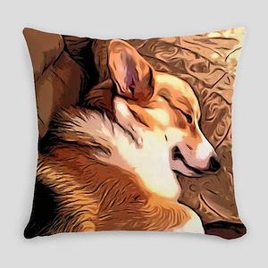 Sleepy Tricolor Corgi Everyday Pillow