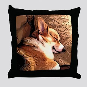 Sleepy Tricolor Corgi Throw Pillow