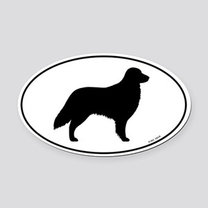 Flat Coated Retriever Oval Car Magnet