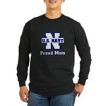 Proud Navy Mom Long Sleeve Dark T-Shirt