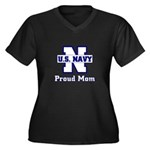 Proud Navy Mom Women's Plus Size V-Neck Dark T-Sh