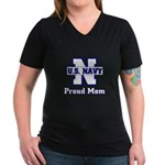 Proud Navy Mom Women's V-Neck Dark T-Shirt