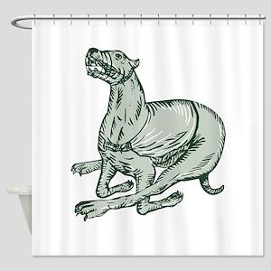 Greyhound Dog Racing Side Etching Shower Curtain