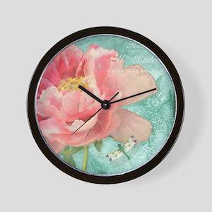 Fleurs - Peony Garden Flower w Dragonfl Wall Clock