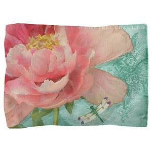Fleurs - Peony Garden Flower w Dragonf Pillow Sham