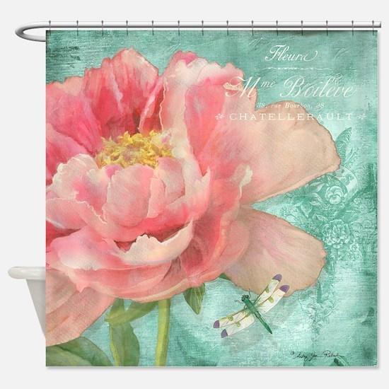 Fleurs - Peony Garden Flower w Drag Shower Curtain