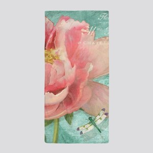 Fleurs - Peony Garden Flower w Dragonf Beach Towel