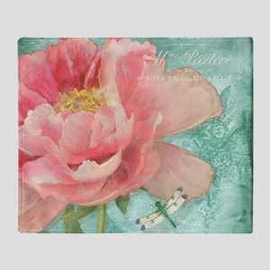 Fleurs - Peony Garden Flower w Drago Throw Blanket