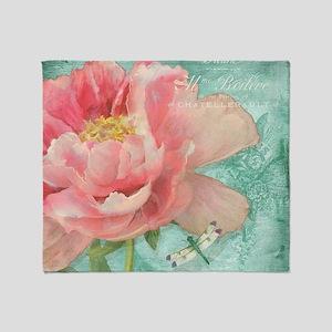 Fleurs - Peony Garden Flower w Drago Throw Blanket