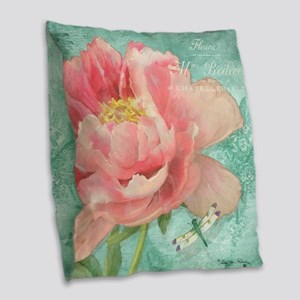 Fleurs - Peony Garden Flower w Burlap Throw Pillow