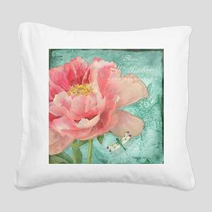 Fleurs - Peony Garden Flower Square Canvas Pillow
