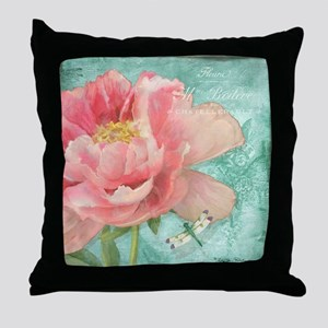 Fleurs - Peony Garden Flower w Dragon Throw Pillow