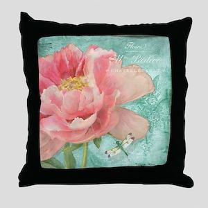Fleurs - Peony Garden Flower w Dragon Throw Pillow