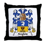 Anglois Family Crest Throw Pillow