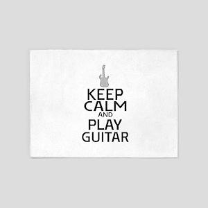 Keep Calm Play Guitar - Electric 5'x7'Area Rug