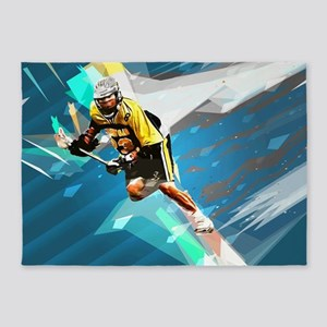 Super Crayon Colored Lacrosse in a 5'x7'Area Rug
