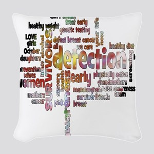 Breast Cancer Awareness and Pr Woven Throw Pillow