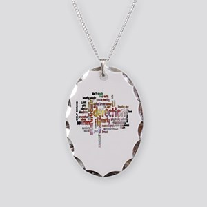 Breast Cancer Awareness and Pr Necklace Oval Charm