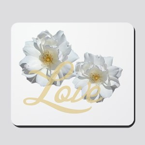 Double pure white rose flowers love  Mousepad