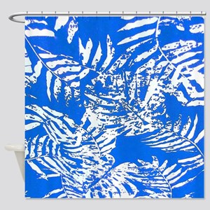 White Palm Leaves Shower Curtain