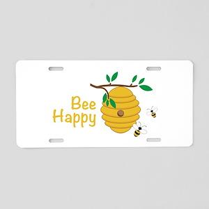 Bee Happy Aluminum License Plate