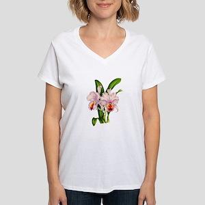 Violet Whisper Cattleyea Or Women's V-Neck T-Shirt