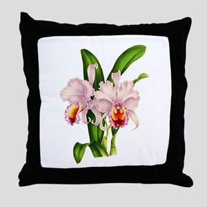 Violet Whisper Cattleyea Orchid Throw Pillow