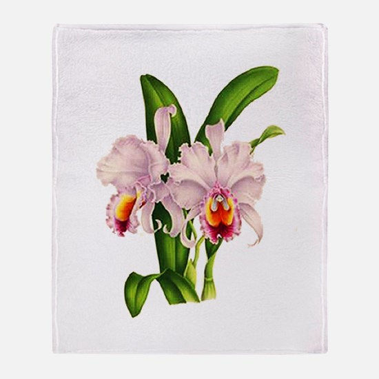 Violet Whisper Cattleyea Orchid Throw Blanket