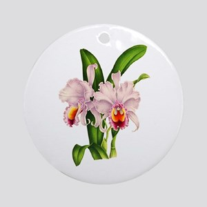 Violet Whisper Cattleyea Orchid Ornament (Round)