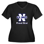 Proud Navy Brat Women's Plus Size V-Neck Dark T-S