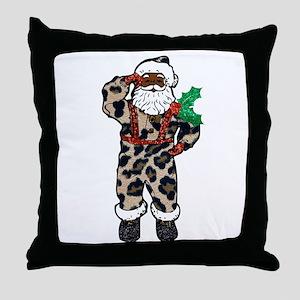 african leopard santa claus Throw Pillow