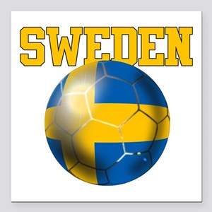 "Sweden Football Square Car Magnet 3"" X 3&quot"