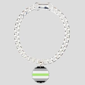 Agender Pride Flag Charm Bracelet, One Charm