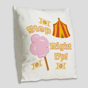 Step Right Up Burlap Throw Pillow