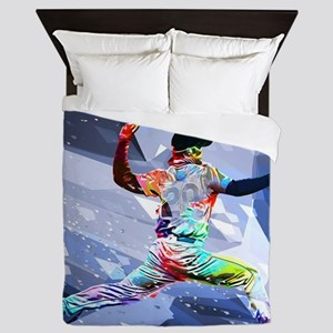 Crayon Colored Baseball Pitcher with c Queen Duvet