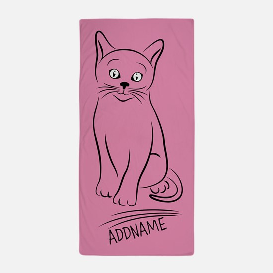 Pink Hand Drawn Cat Personalized Beach Towel