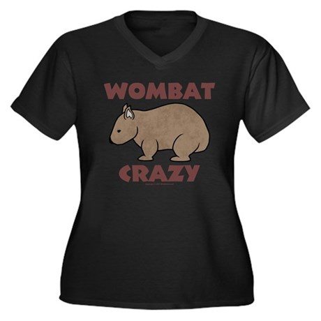 Wombat Crazy III Women's Plus Size V-Neck Dark Tee