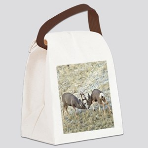 Fighting mule deer bucks Canvas Lunch Bag