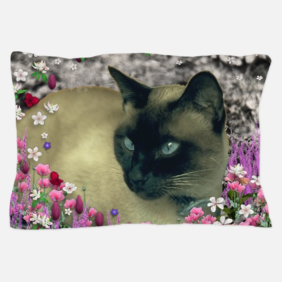 Stella Siamese Cat Flowers Pillow Case