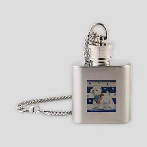 America Westie Flask Necklace