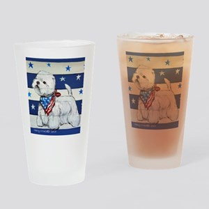 America Westie Drinking Glass