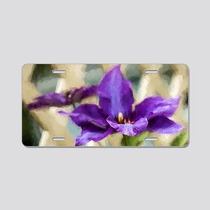 Painted Clematis Aluminum License Plate