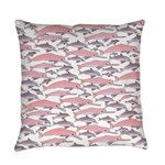 Pink Dolphin Pattern Everyday Pillow